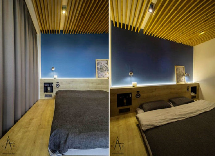 small-bedroom-with-blue-walls-and-wood-ceiling-design-VAE-Group-1